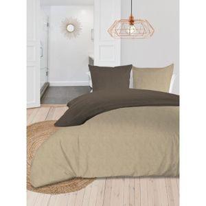 SOLEIL d'OCRE Zweifarbiges Bettwäscheset - Gewaschene Baumwolle - 220 x 240 cm - Leinen und Taupe