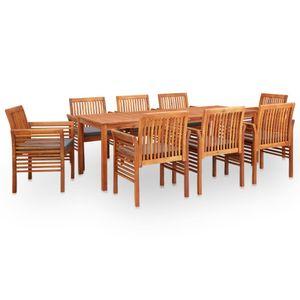 9-teiliges Outdoor-Essgarnitur Garten-Essgruppe Sitzgruppe Tisch + stuhl mit Auflagen Massivholz Akazie