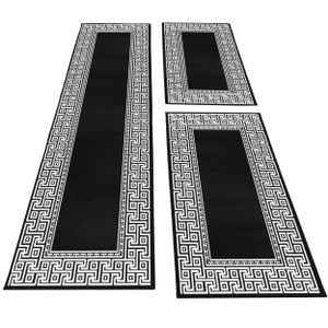 Bettumrandung Läufer Teppich mäander optik bordüre Muster 3 Teilig Schwarz Grau, Farbe:Schwarz, Bettset:2 mal 80x150 cm + 1 mal 80x300 cm