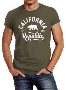 Stylishes Herren T-Shirt California Republic Slim Fit Neverless® army L