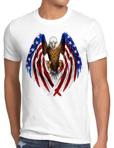 style3 USA Adler T-Shirt Herren US Amerika Stars Stripes Weisskopfadler, Größe:L, Farbe:Weiß