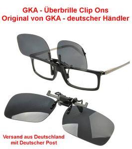 GKA Überbrille Aufsatz Clip on Sonnenbrillenaufsatz polarisiert 100% UV Schutz klappbar Clip-Ons
