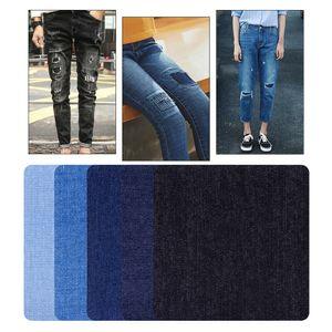 20 Stücke Jeans Bügelflicken 4 Größe 4 Farbe Jeansflicken zum Aufbügeln + Nähset