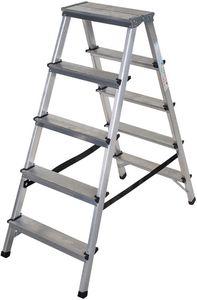 Brennenstuhl Doppelstufenleiter Aluminium 2x5 Stufen Höhe Stehleiter 1,04m