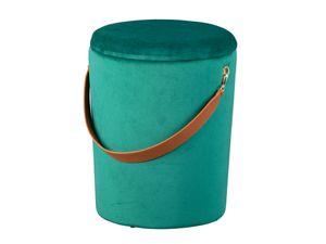 Design Sitzhocker inkl. Stauraum Hocker Samt grün mit Griff PU