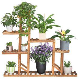 WISFOR Blumenregal Holz Blumenständer 6 Ebenen Blumentreppe Pflanzentreppe Indoor Outdoor Balkon Garten 117×25×96cm