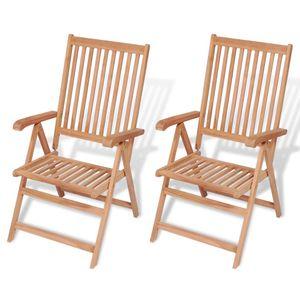 dereoir Verstellbare Gartenstühle 2 Stk. Massivholz Teak