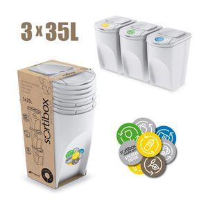 Sortibox Mülleimer Set Müllbehälter 3x35Liter weiß Müllboxen Set Müllbehälter Mülltrenner Anthrazit Abfalltrennung