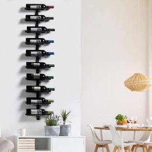 Weinregal aus Metall Flaschenhalter Flaschenregal Aufbewahrungsregal für 10 Flaschen Wandregal Hängeregal Schwarz