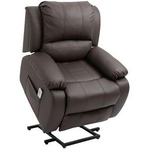 HOMCOM Massagesessel Aufstehhilfe, Relaxsessel, Fernsehsessel mit Massagefunktion, Liegefunktion, Stahl+MDF+PU+Schwammstoff, Braun, 92 x 92,5 x 101 cm