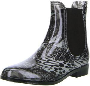 ConWay Damen Stiefeletten Gummistiefeletten schwarz/mehrfarbig, Größe:36, Farbe:Schwarz