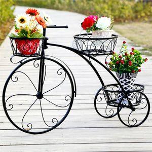 Blumenregal Fahrrad Form Blumenständer für 3 Blumentöpfen Pflanzenregal Deko Garten Balkon Wohnzimmer
