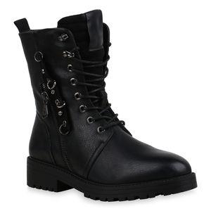 Mytrendshoe Damen Stiefeletten Leicht Gefüttert Schnürstiefeletten Ösen Schuhe 835732, Farbe: Schwarz, Größe: 39