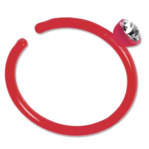 viva-adorno Fake Piercing Nasenring Nasenpiercing Clip on Acryl Zirkonia in verschiedenen Farben Z503,rot
