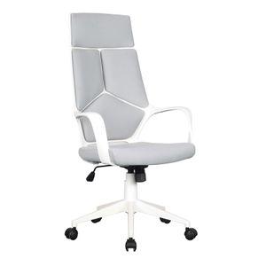 SixBros. Bürostuhl Moderner Schreibtischstuhl, hohe Rückenlehne, Chefsessel mit Armlehnen, ergonomischer Drehstuhl mit Stufenloser Höhenverstellung, Mesh Netzstoff, grau/weiß 0898H/2253