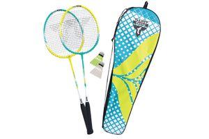 Talbot Torro Premium Badminton-Set 2-Fighter, 2 leichte und handliche Alu-Schläger, 2 Federbälle, in wertiger Tasche