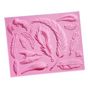 Diy Silikon Feder Kuchenform Matte Fondant Zuckerfertigkeit Form Dekorieren Werkzeug Rosa