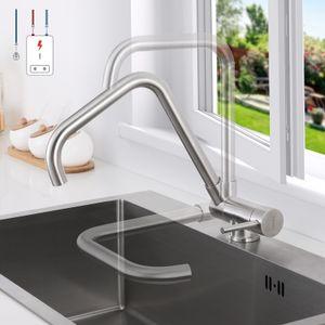 Niederdruck Küchenarmatur Vorfenster, Umklappbarer Wasserhahn Küche Einhebelmischer 360° Drehbar, Niederdruck Spültischarmatur Küche Vorfenster aus gebürstetem Edelstahl