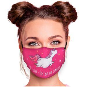Mundschutz Nasenschutz Behelfs – Maske, waschbar, Filterfach, verstellbar, Motiv Mir egal - Ich bin ein Einhorn