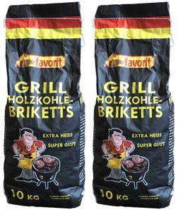 20 Kg. Favorit Grill Briketts aus Holzkohlestaub, Grillbrikett, 2x10 Kg. Sack