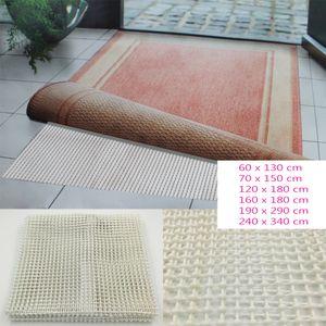 Teppichgleitschutz in Weiß / Beige - rutschhemmende Teppichunterlage waschbar und zuschneidbar - Teppichstop Antirutschmatte Fußbodenheizung geeignet Maße wählbar