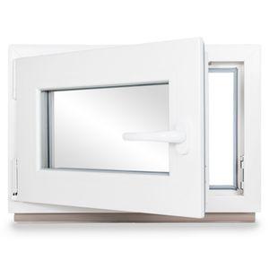 Neruli Kellerfenster Kunststoff Weiß Dreh-Kipp Glasdichtungen Grau, 2-fach verglast, DIN Links, 60x40 cm