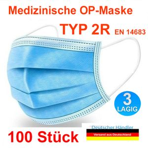 100 Stück TYP 2R Medizinische Masken 3 lagig Mundschutz EN14683 OP Maske