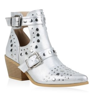 Mytrendshoe Damen Stiefeletten Ankle Boots Cut Out Booties Nieten Schnallen 834042, Farbe: Silber, Größe: 39