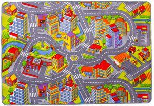 Kinderteppich 140 x 200 cm Kinderspielteppich Straßenteppich City Autoteppich Stadt Straßenlandschaften Spielteppich