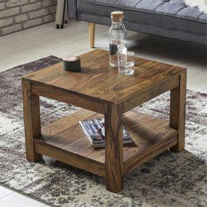 Couchtisch Massiv-Holz Sheesham Wohnzimmer-Tisch Design dunkel-braun Landhaus-Stil Beistelltisch B/H/T ca. 60/45/60cm