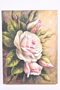 Gemälde ' Rosenbouquet', handgemalt auf Leinwand mit Keilrahmen