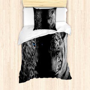 ABAKUHAUS Leopard Mantele, Wilder Leoparden, Milbensicher Allergiker geeignet mit Kissenbezügen, 135 cm x 200 cm - 80 x 80 cm, Schwarz Weiß Blau