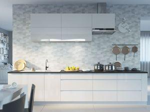 Lackierter Küchenblock Küchenzeile Komplett Küche weiß / signalweiß Hochglanz lackiert Modern