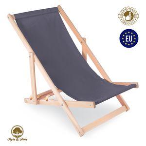 Liegestuhl klappbar aus Holz LIEGE 120 kg - Relaxliege für Garten Balkon Gartenliege Strandstuhl Buchenholz GRAU