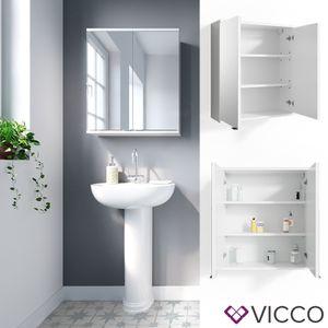 VICCO Spiegelschrank ROY 60 x 68 cm Weiß - Spiegel Badspiegel Bad Wandspiegel