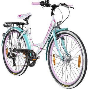 Galano Blossom 26 Zoll Mädchenrad Jugendrad Cityrad Mädchenfahrrad 7 Gang Fahrrad StVZO retro, Farbe:weiß/grün/pink