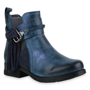 Mytrendshoe Damen Klassische Stiefeletten Leicht Gefütterte Fransen Schuhe 835545, Farbe: Dunkelblau, Größe: 39