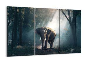 "Leinwandbild - 165x110 cm - ""Ein gemütlicher Spaziergang""- Wandbilder - Elefant Wald Dschungel - Arttor - CE165x110-3972"