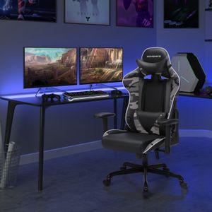 SONGMICS Gaming Stuhl Bürostuhl ergonomischer Schreibtischstuhl verstellbare Rückenlehne Armlehnen Kopf- und Lendenkissen schwarz-tarnfarben RCG47BG