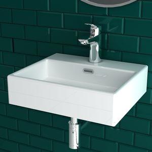 Alpenberger Handwaschbecken mit Überlauf 42x36 cm   Großzügiger Waschbereich   Waschbecken aus robuster Keramik   Waschtisch optimal für kleine Bäder
