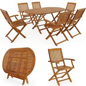 Sitzgruppe Boston 6+1 Akazienholz 7-TLG Tisch klappbar Sitzgarnitur Holz Gartenmöbel Garten Set