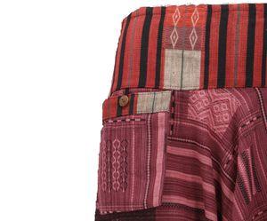 Haremshose mit Breitem Gewebtem Bund, Ikat Thai Pluderhose - Bordeauxrot, Damen, Baumwolle, Pluderhosen & Aladinhosen