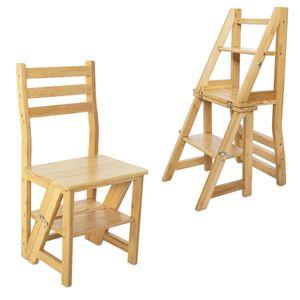 Navaris Faltstuhl mit Leiter Funktion - Stuhl 3-Stufen Trittleiter und Blumenleiter in einem - Bambus Klappstuhl Klapptritt - Küchenstuhl faltbar