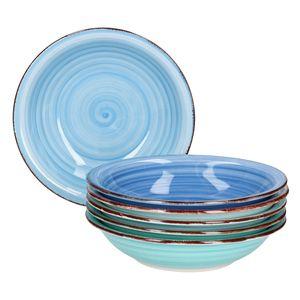 Teller-Set Blue Baita 6Pers Suppenteller 750ml Salatteller Servier Porzellan handbemalt mehrfarbig