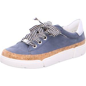 Ara Rom-Highsoft 14404-06, Blau, Schnürschuh, Damen, Jeans, Leder, NEU- Damenschuhe Sneaker, Blau, leder/textil (nubuk/kork/premiere-metallic), absatzh&oumlhe: flach