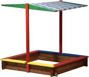 dobar Sandkasten Holz mit Dach, groß XL viereckig bunt, Sandkiste Sonnendach für Kinder Outdoor, 120 x 120 x 125 cm,Holz