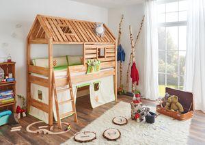 Relita Spielbett Tom's Hütte und Bett Kim, Buche massiv natur geölt, Textilset Indianer; BH1131118+ZB1371418+TX5002028+TX5032028-M1