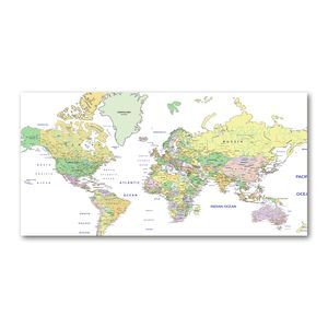 Tulup® Leinwandbild - 140x70 cm - Wandkunst - Drucke auf Leinwand - Leinwanddruck  - Landkarten & Flaggen - Mehrfarbig - Weltkarte