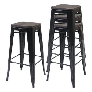 4x Barhocker HWC-A73 inkl. Holz-Sitzfläche, Barstuhl Tresenhocker, Metall Industriedesign stapelbar  schwarz