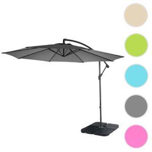 Ampelschirm Terni, Sonnenschirm Sonnenschutz, Ø 3m neigbar, Polyester/Stahl 11kg  grau mit Ständer